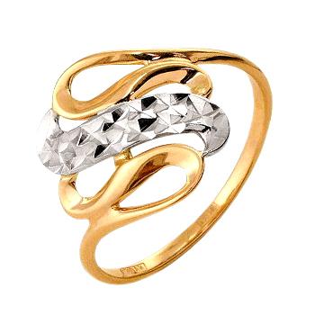 Кольцо из белого и красного золота с алмазной гранью