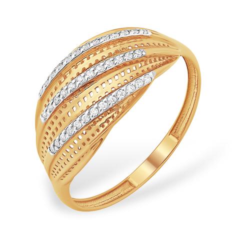 Кольцо из золота 585 пробы с дорожками из фианитов
