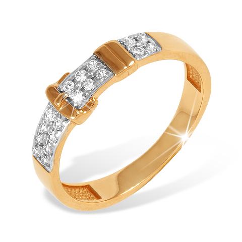 """Золотое кольцо """"ремешок"""" с фианитами"""