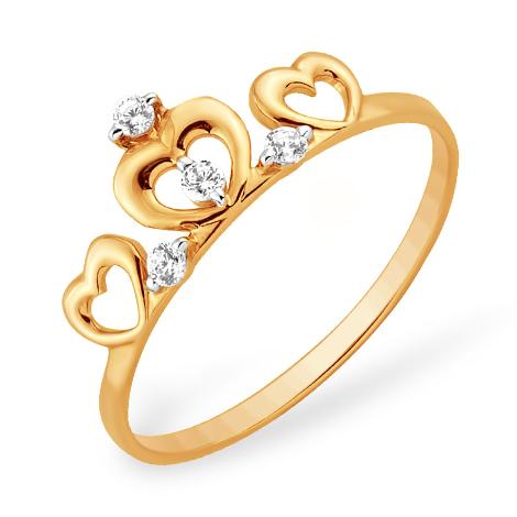 Золотое кольцо в виде короны с фианитами