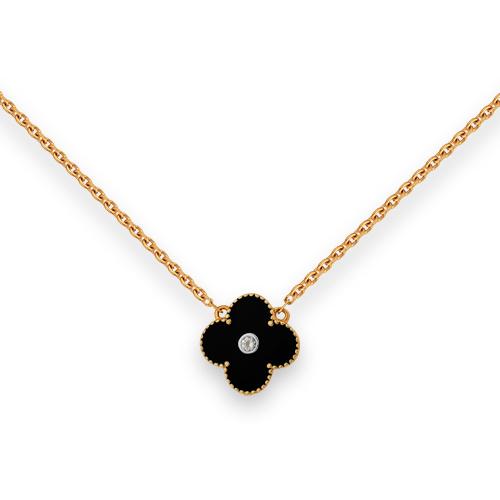 """Колье """"черный цветок"""" из золота с фианитом"""