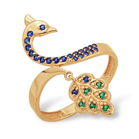 """Кольцо """"павлин"""" из золота с фианитами"""