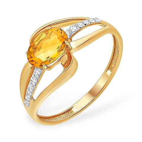 Лёгкое кольцо с цитрином и фианитами
