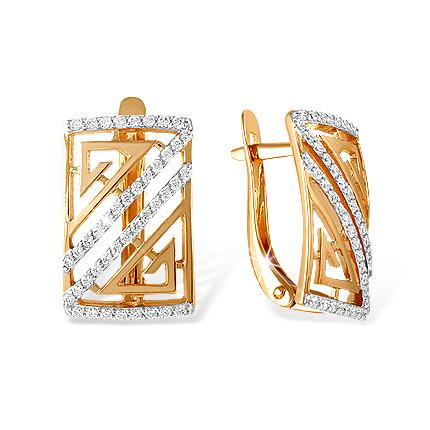Широкие золотые серьги прямоугольной формы