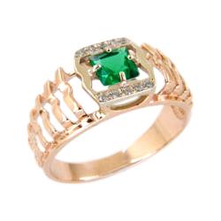 Золотое кольцо с зеленой шпинелью и фианитами