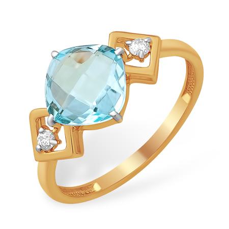 Кольцо с крупным голубым топазом