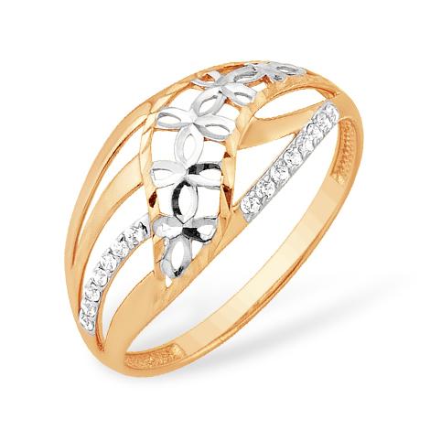 Золотое кольцо с фианитами и алмазной гранью
