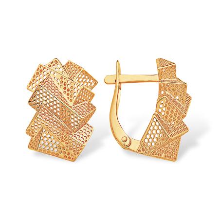 Гофрированные золотые серьги