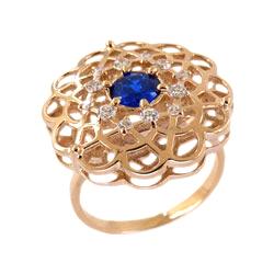 Кольцо из золота с гидротермальными сапфирами и фианитами