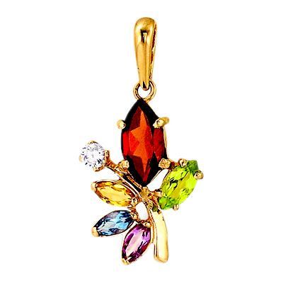 Золотая подвеска с миксом из полудрагоценных камней