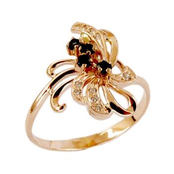 Кольцо из золота с Лондон топазами и фианитами