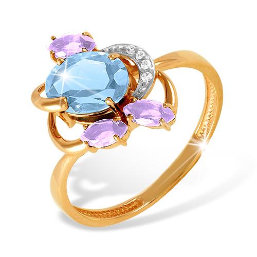 Кольцо из золота с топазом и аметистами