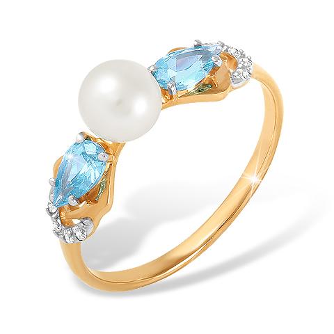 Кольцо с жемчугом, голубыми и белыми фианитами