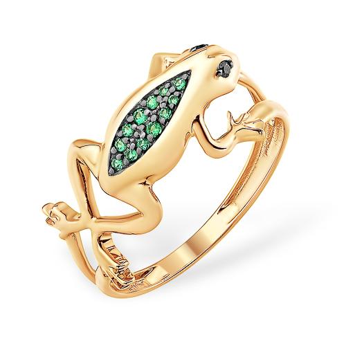 """Золотое кольцо """"лягушка"""" с зелёными фианитами"""
