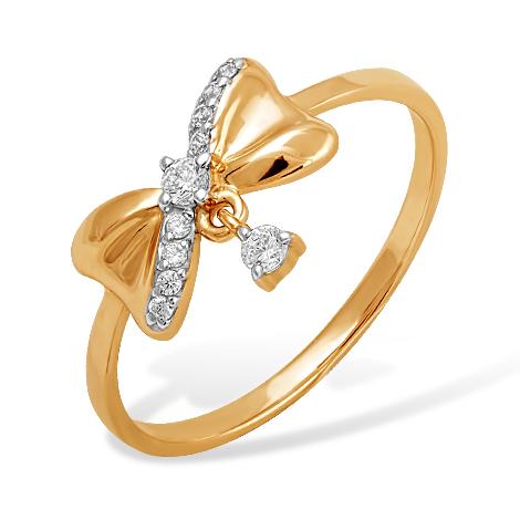 """Кольцо """"бантик"""" из золота с фианитами"""