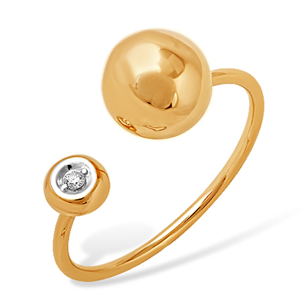 """Кольцо в стиле """"Диор"""" из золота с фианитом"""