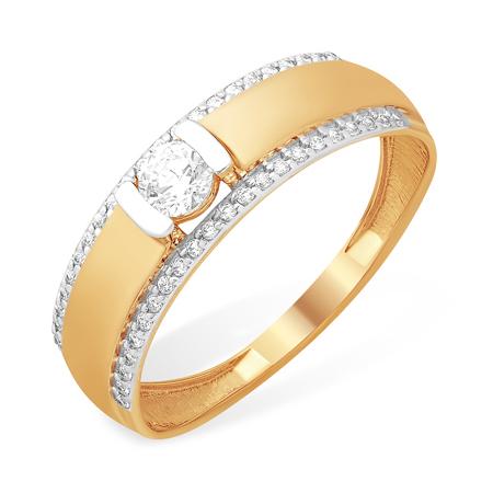 Золотое кольцо с кристаллом Сваровски