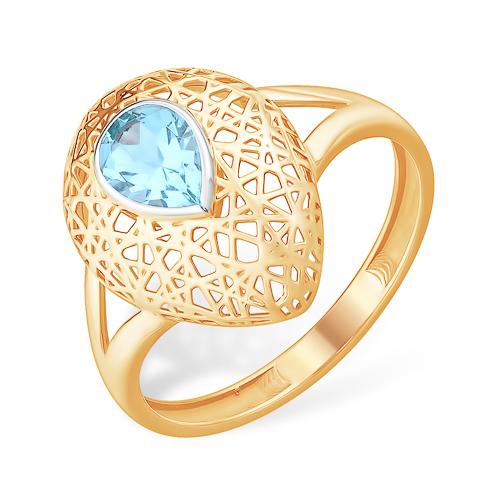 """Крупное золотое кольцо """"паутинка"""" с голубым топазом"""