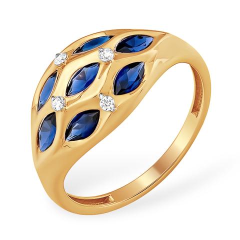 Красивое золотое кольцо с гидротермальными сапфирами и фианитами