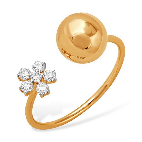 """Золотое кольцо """"Диор"""" с фианитами"""