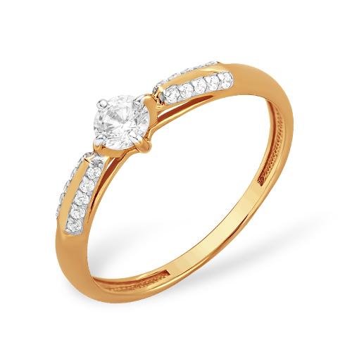 """Золотое кольцо """"классика"""" с фианитами"""