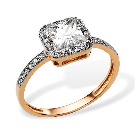 золотое кольцо с крупным бесцветным фианитом