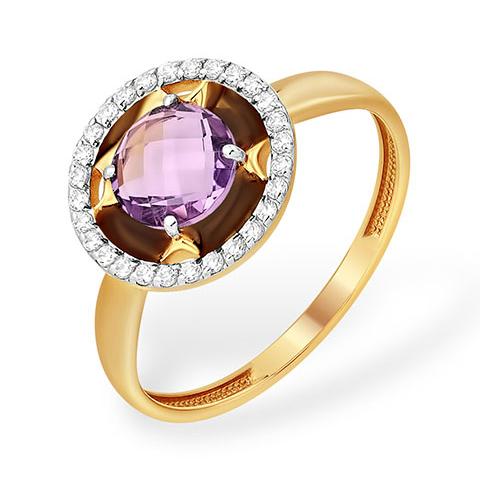 Круглое кольцо с аметистом и бесцветными фианитами
