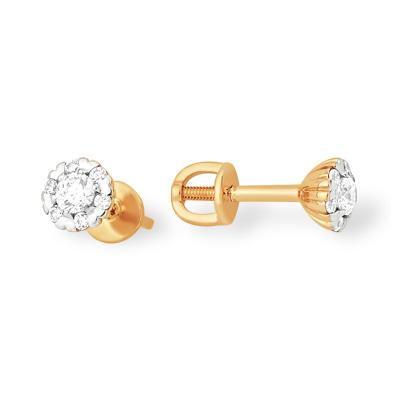 Классические серьги-пусеты из золота с фианитами