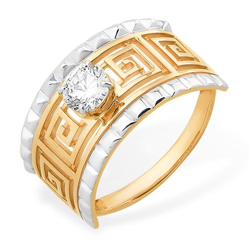 """Кольцо """"лабиринт"""" из золота с кристаллом Swarovski"""