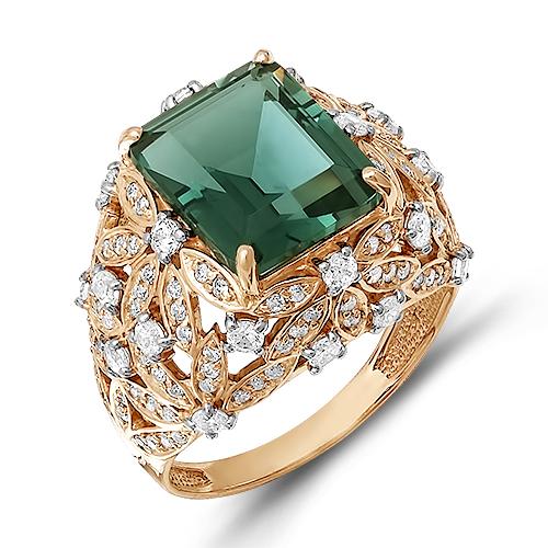 Крупное женское кольцо с зелёным кварцем и фианитами