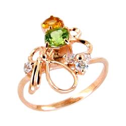 Золотое кольцо с хризолитом, цитрином и фианитами