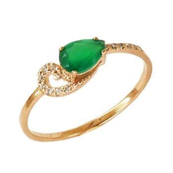 Лёгкое золотое кольцо с зелёным агатом и фианитами