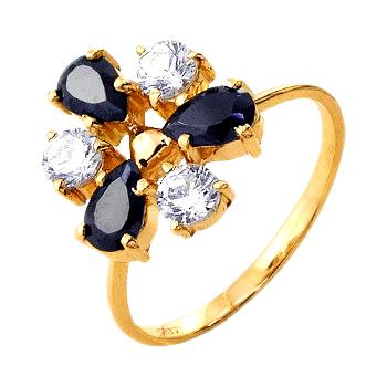 Кольцо из золота с насыщенными фианитами