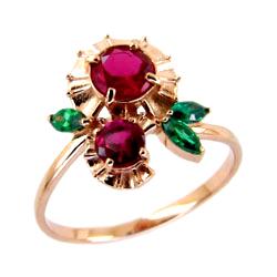 Кольцо из золота с розовыми и зелеными фианитами