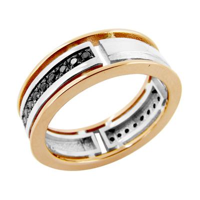 Кольцо из белого и красного золота с черными бриллиантами