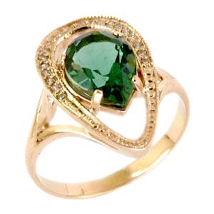 Золотое кольцо с зеленым кварцем и фианитами