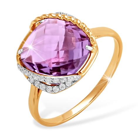 """Кольцо с очень крупным аметистом """"бриолет"""" и фианитами"""