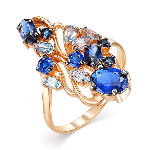 Золотое кольцо с голубыми топазами и синими фианитами