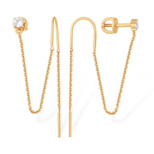 Пусеты из золота с цепочками