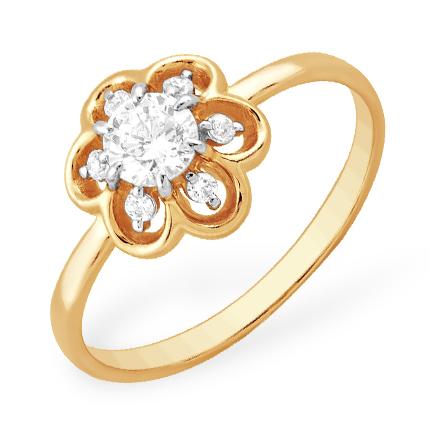 """Золотое кольцо """"цветок"""" с фианитами"""