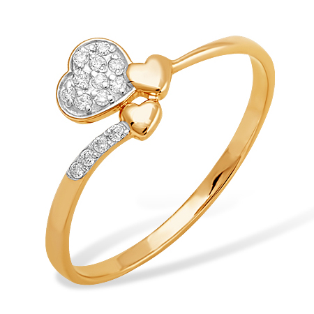 "Кольцо ""сердечки"" из золота с фианитами"