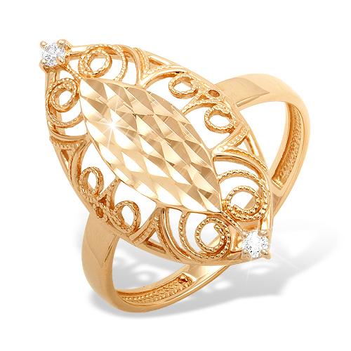 Кольцо из золота с филигранью и алмазной гранью