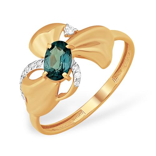 Золотое кольцо в виде банта с лондон топазом