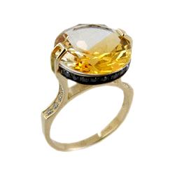 Кольцо из золота с цитрином и черными фианитами