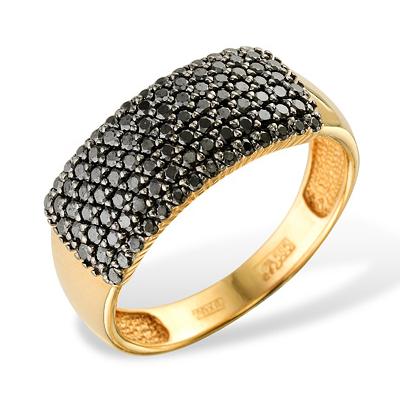 Золотое кольцо с черными фианитами