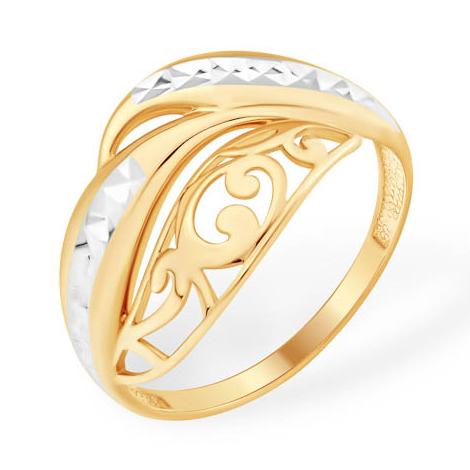 Красивое кольцо из золота с узорами и алмазной гравировкой