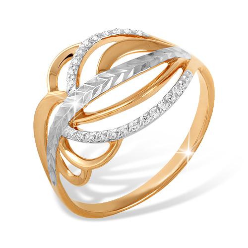 Кольцо из золота с фианитами и алмазной гранью