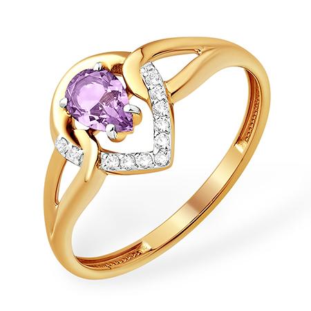 Миниатюрное кольцо с аметистом и фианитами