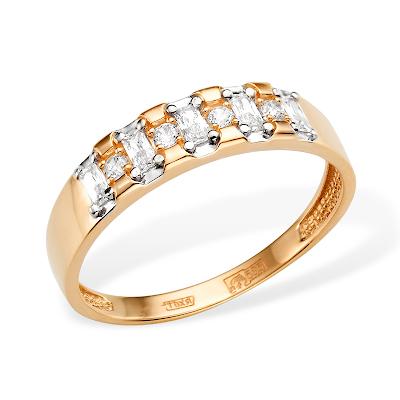 Золоте кольцо с фианитами