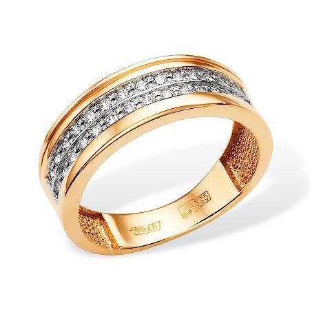 Широкое золотое кольцо с фианитами